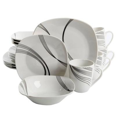Gibson Home 16pc Stoneware Curvation Dinnerware Set White