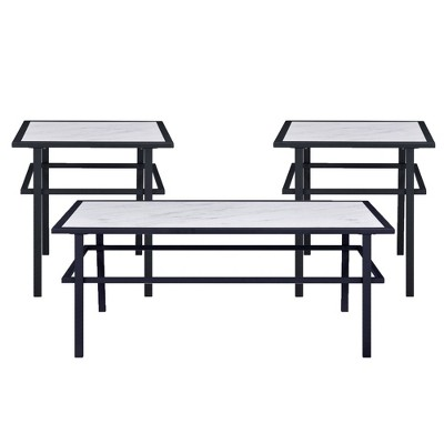 3pc Saint Coffee and 2 End Tables Set White - Picket House Furnishings