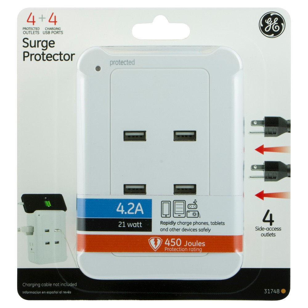 GE Surge Protector with 4 Outlets 450J 2 Usb 4.2A - White (31748) Protect your electronics and charge your portable devices at the same time with the Surge Protector Tap with Usb Charging from GE. The surge protector features four protected side-access outlets and four Usb charging ports, allowing you to charge four devices directly from the power source. It is equipped with a protected indicator light to show your components are working at a glance. The GE Surge Protector Tap with Usb Charging comes with a 450 Joules protection rating and 4.2A/21W Usb rating, giving your Usb-powered mobile devices a strong charge. Charging cable not included. This product is intended intended for indoor use only. It is UL listed and backed by a limited-lifetime warranty. Color: White.