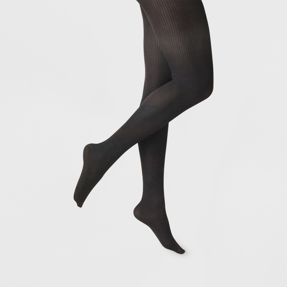 Women's Ribbed Tights - A New Day Black M/L