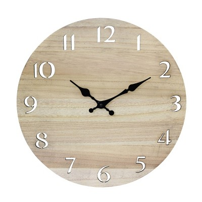 """14"""" Round Wood Wall Clock with Cutout Numbers Tan - Stonebriar Collection"""