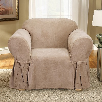 Soft Suede Chair Slipcover Taupe - Sure Fit, Brown