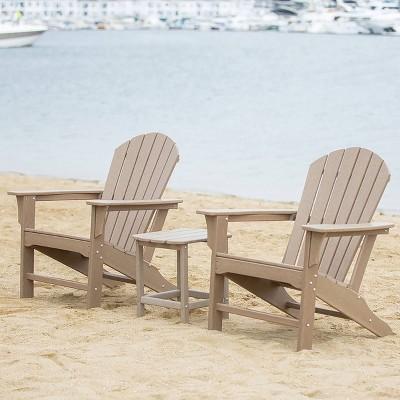 Hampton 3pc Outdoor Adirondack Chair & Table Set - LuXeo