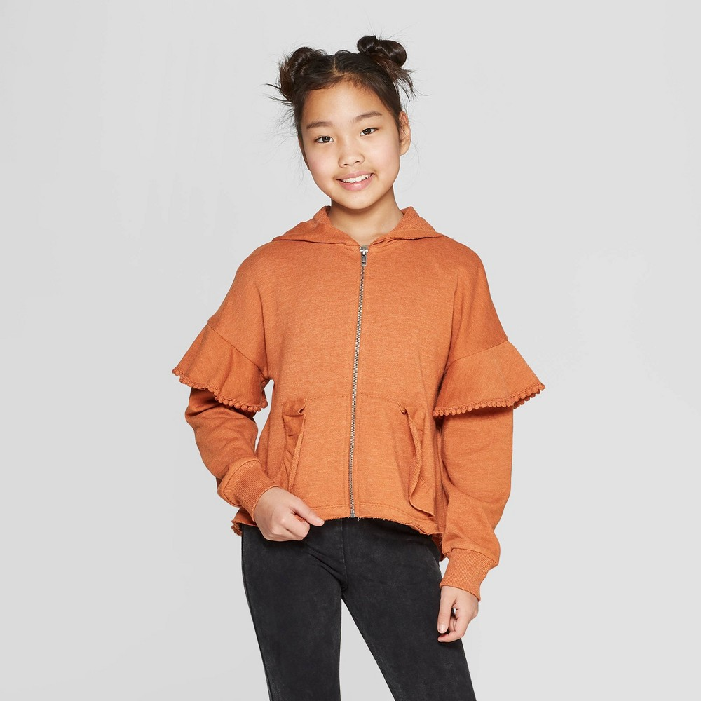 Girls' Zip-Up Hoodie with Ruffles - art class Orange S, Red