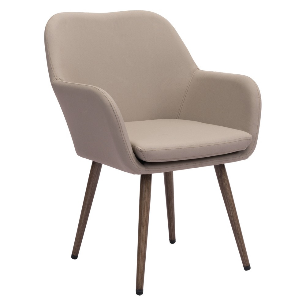 Mid-Century Modern Outdoor Dining Chair Taupe - ZM Home, Brown