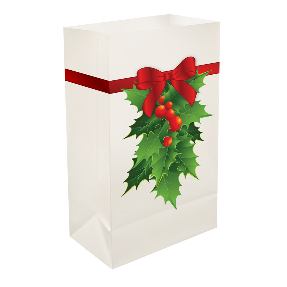 "Image of ""12ct Plastic Luminaria Bags """"Holly"""" - LumaBase"""