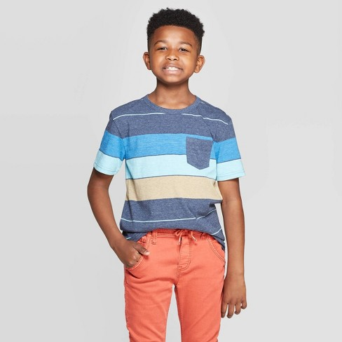 Boys Short Sleeve Striped T-Shirt - Cat & Jack™ Navy/Blue/Yellow - image 1 of 3