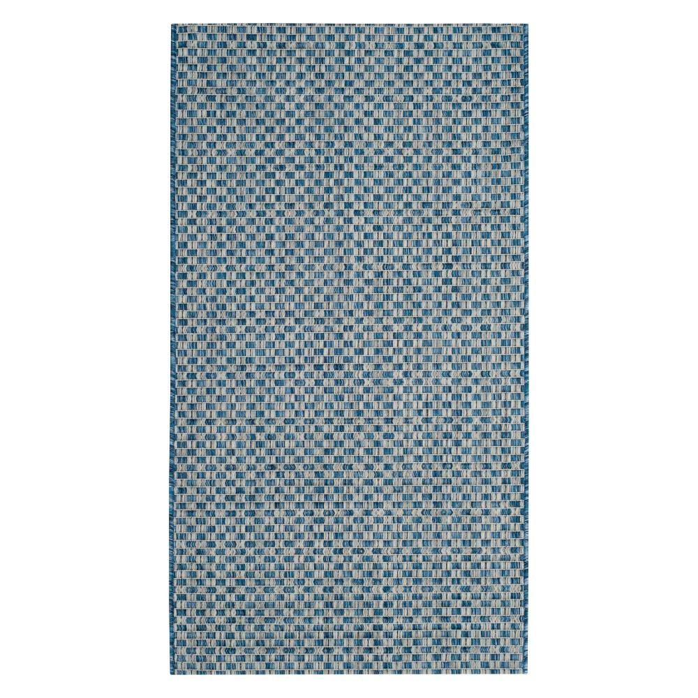 Best Price Tabatha 2 X 37 IndoorOutdoor Rug BlackLight Gray Safavieh Blue