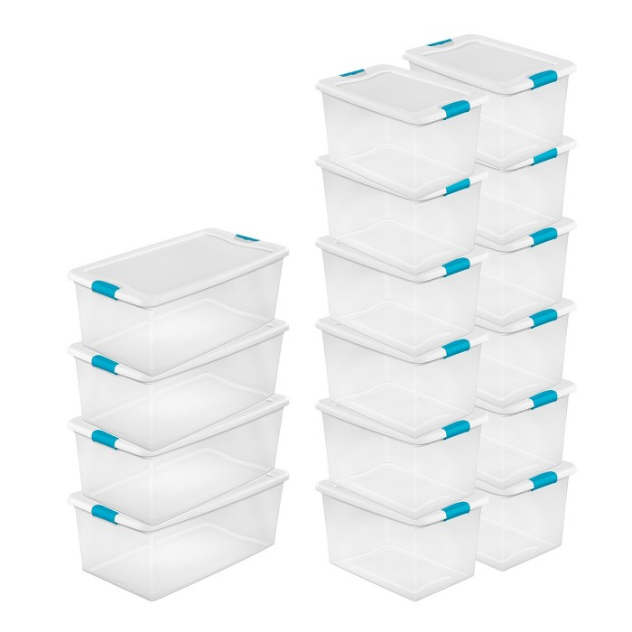 Sterilite 106 Qt. Stackable Storage Box Container (4 Pack) + 64 Qt Box (12 Pack) - image 1 of 6