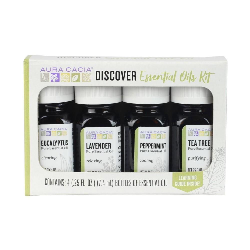 Image of Aura Cacia Discover Essential Oils Kit - 4ct/0.25 fl oz