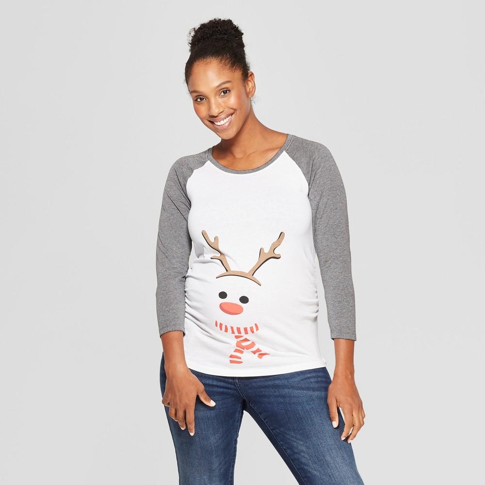 Maternity Long Sleeve Reindeer Raglan T-Shirt - Isabel Maternity by Ingrid & Isabel White L, Women's