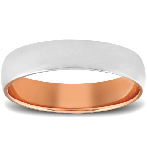 Pompeii3 Rose Gold Two Tone Mens 5MM Dome Wedding Band Plain Polished Ring 10k - image 1 of 3