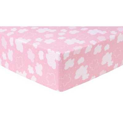 Trend Lab Deluxe Flannel Crib Sheet - Pink Clouds