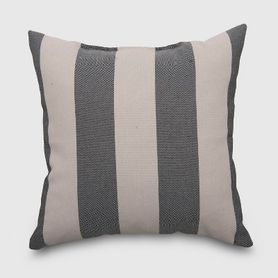 Square Cabana Stripe Outdoor Pillow Black - Threshold™