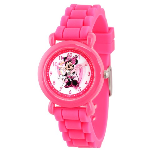 Disney Minnie Mouse Girls' Pink Plastic Time Teacher Watch, Pink Silicone Strap, WDS000136 - image 1 of 2