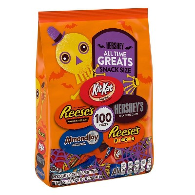 All Time Greats Reese's, Hershey's, Kit Kat, Almond Joy, and Reese's Pieces Halloween Assorted Bag Snack Size - 51.6oz/100ct