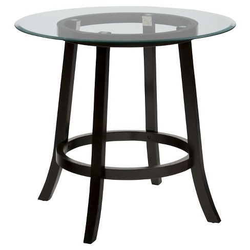 """Aaron Pub 42"""" Round Counter Height Table with Glass Top Wood/Very Dark Brown - Jofran Inc. - image 1 of 2"""