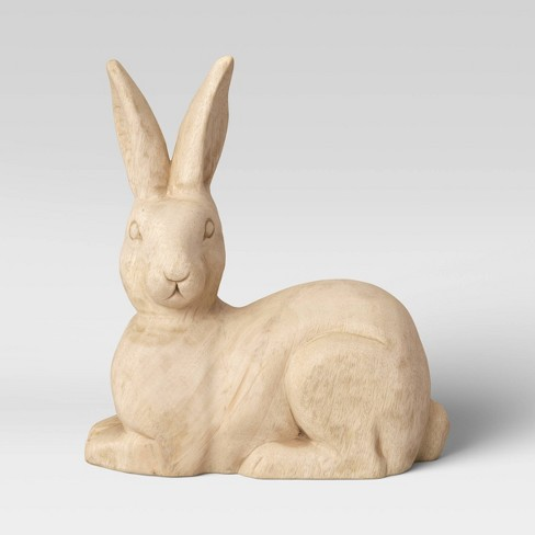 Decorative Wooden Sitting Bunny Figurine Brown - Threshold™ - image 1 of 3