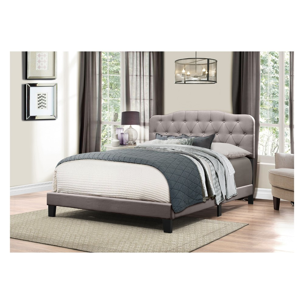 Nicole Upholstered Bed In One King Stone Gray Fabric - Hillsdale Furniture