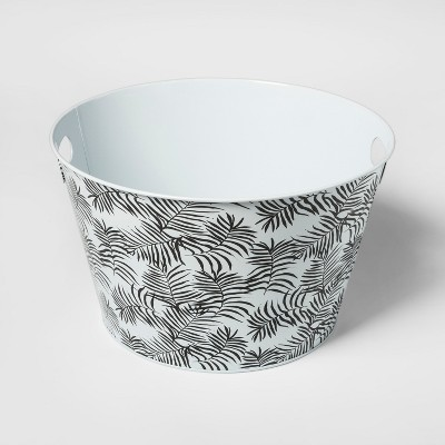 Steel Beverage Storage Tub Small Black/White Palms - Room Essentials™