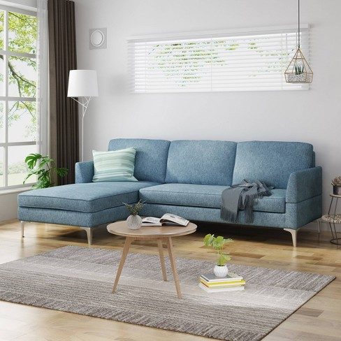 2pc Oconner Mid Century Modern Sectional Sofa Navy Blue Tweed