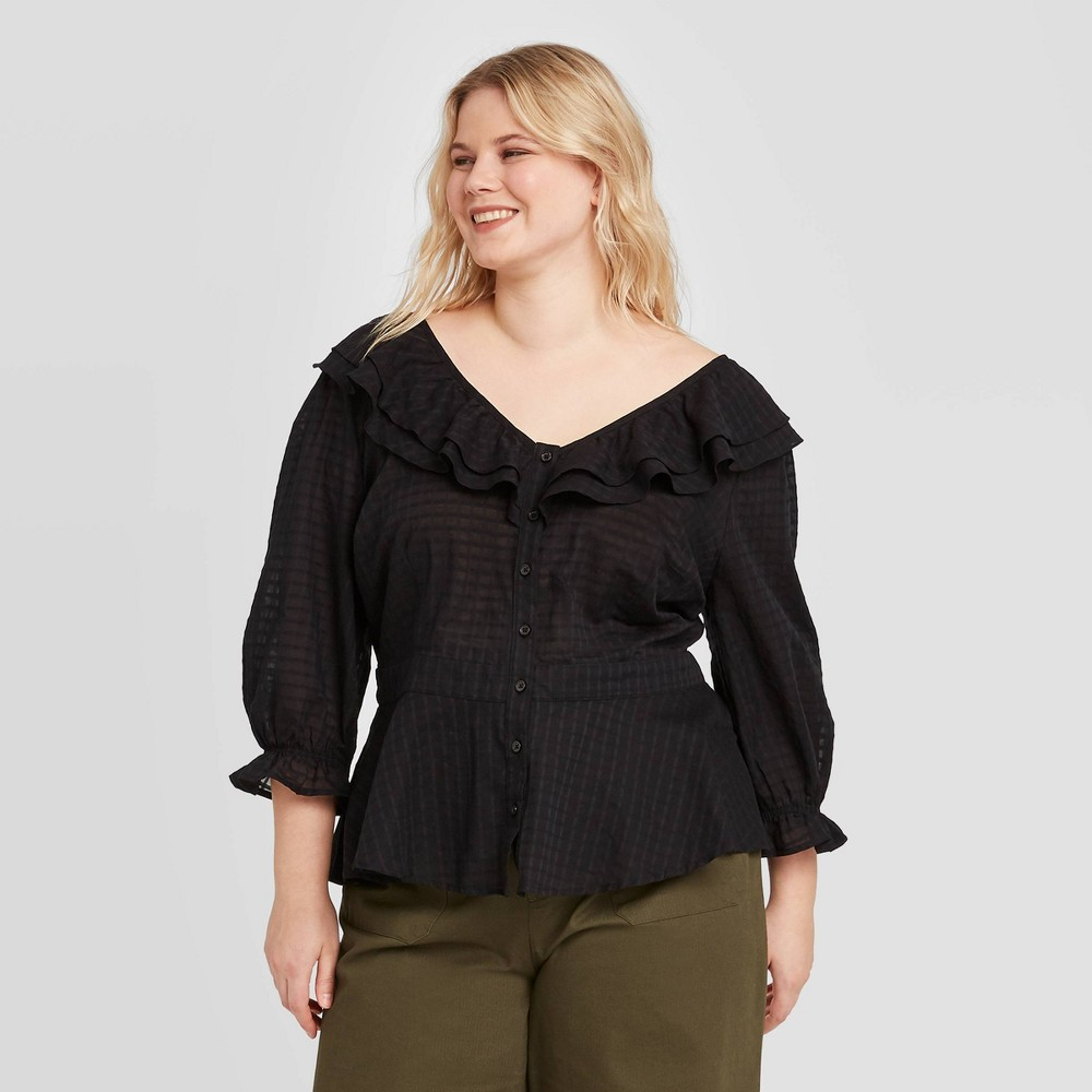 Vintage Tops & Retro Shirts, Halter Tops, Blouses Women39s Plus Size Long Sleeve Blouse - Who what Wear8482 $29.99 AT vintagedancer.com