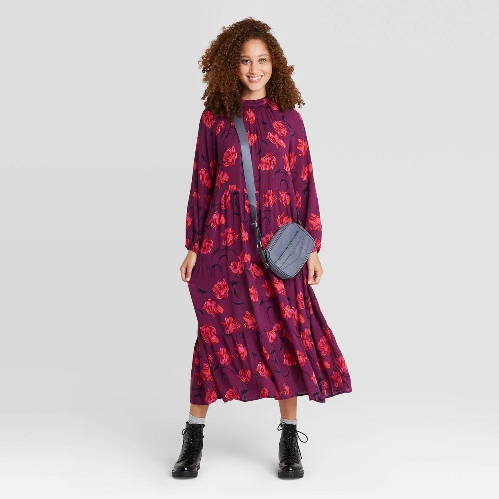 Women 39 S Floral Print Long Sleeve Tiered Dress A New Day 8482 Dark Purple L
