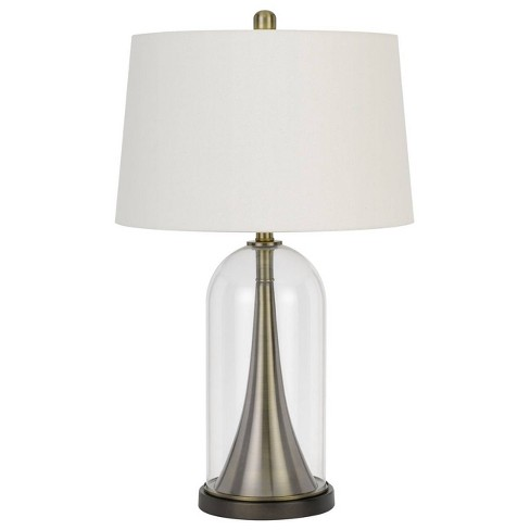 """28.5"""" Camargo Glass and Metal Table Lamp and Drum Shade Antique Brass - Cal Lighting - image 1 of 3"""