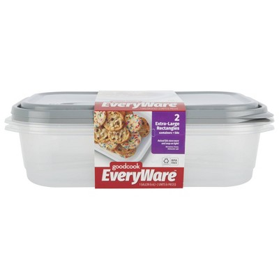 GoodCook EveryWare Rectangle 1 Gallon Food Storage Container - 2pk