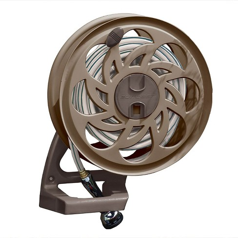 Suncast 125 Foot Capacity Wall Mounted Side Tracker Garden Hose Reel With Guide Target