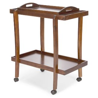 Preslie Wooden Bar Cart with Removable Top Tray Dark Oak - Christopher Knight Home