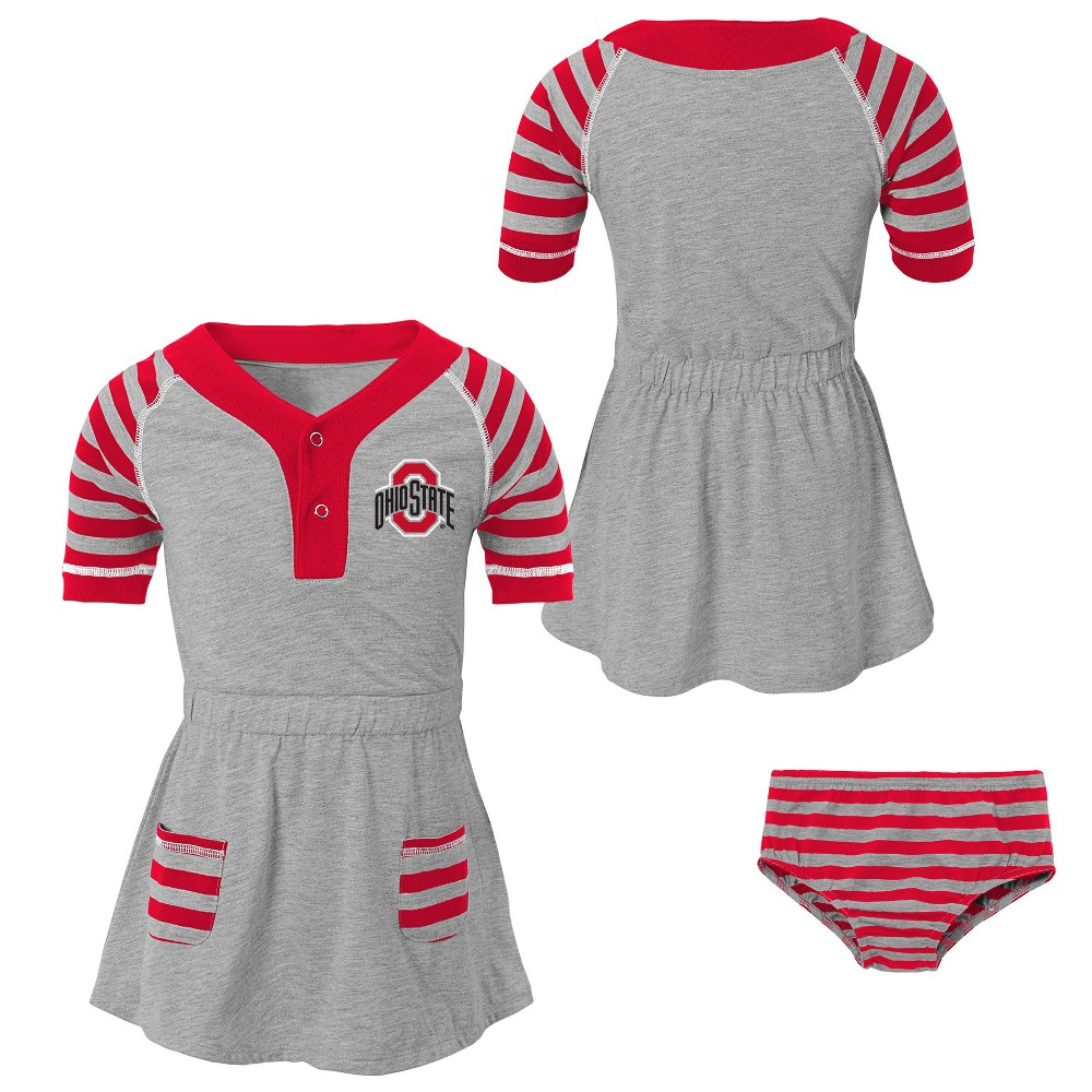 NCAA Toddler Girls' Long Sleeve Dress Ohio State Buckeyes - 4T, Multicolored