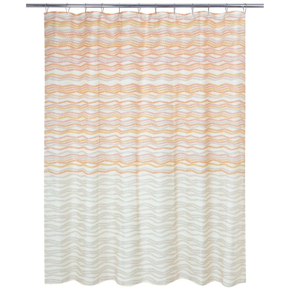 Image of Zig Zag Dots Shower Curtain Orange - Allure Home Creation