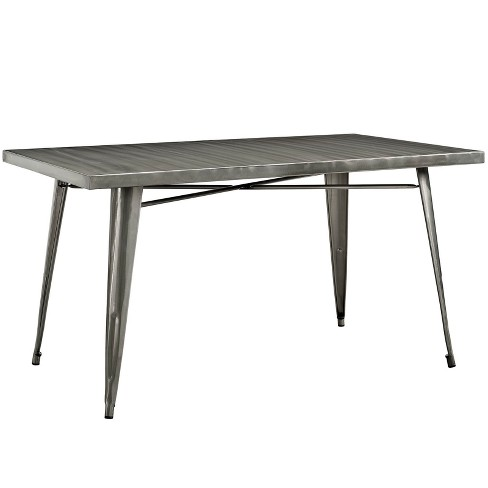 Alacrity Rectangle Metal Dining Table Gunmetal - Modway - image 1 of 5