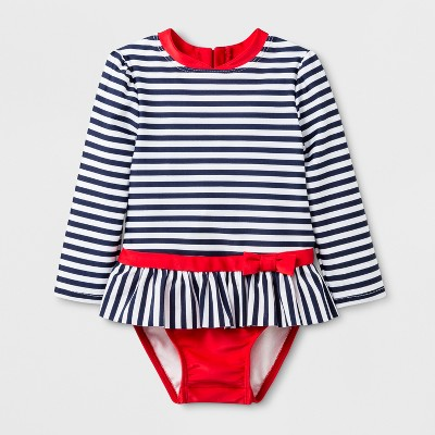 Baby Girls' Stripe One Piece Swimsuit - Cat & Jack™ Navy/White 12M