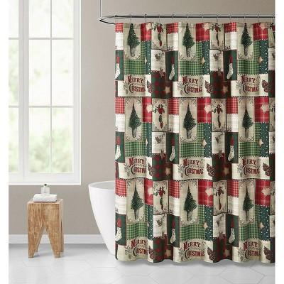Kate Aurora Merry Christmas Evergreens & Ornamets Plaid Farmhouse Fabric Shower Curtain -