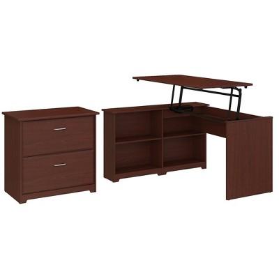 Bush Furniture 3 Position Corner Bookshelf Desk w/Lateral File Cabinet