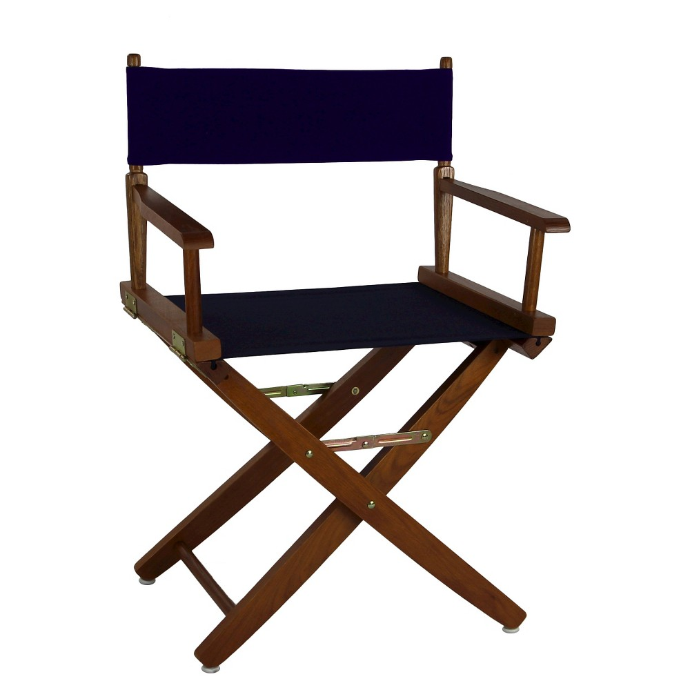 Extra Wide Directors Chair - Mission Oak Frame/Navy (Blue)