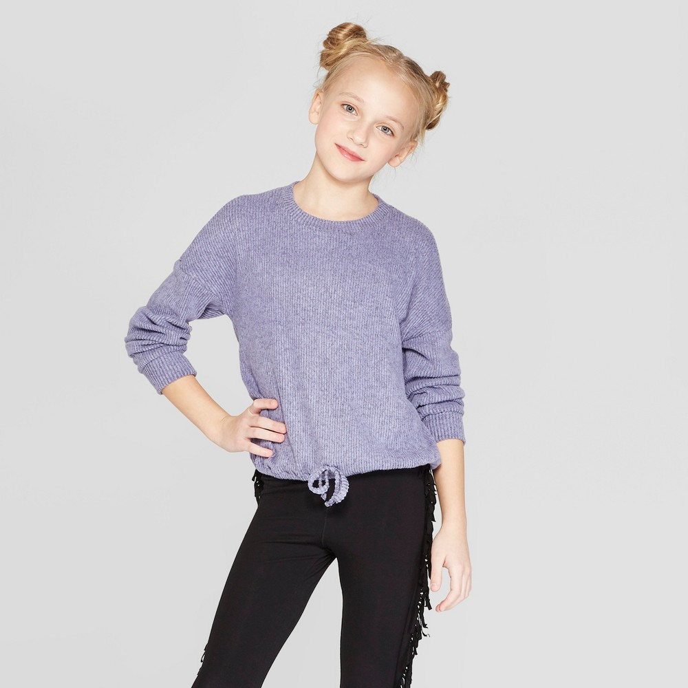 Girls' Long Sleeve Cinched Bottom T-Shirt - art class Purple S