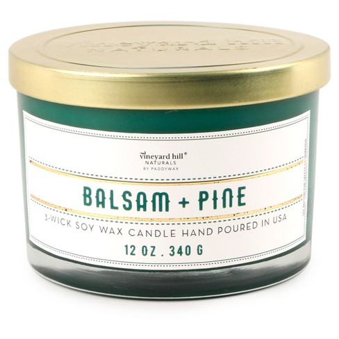 3-Wick Glass Candle Balsam Pine 12oz - Vineyard Hill Naturals by Paddywax - image 1 of 1