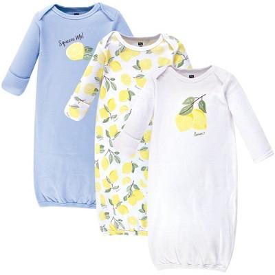 Hudson Baby Infant Girl Cotton Long-Sleeve Gowns 3pk, Lemon, 0-6 Months