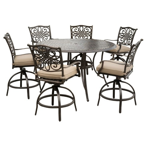 Traditions 7pc Round Metal Patio High Dining Set Tan Hanover