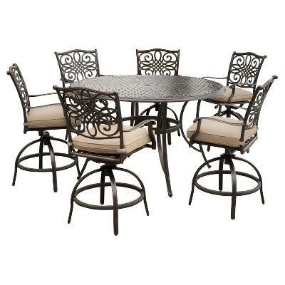 Exceptionnel Traditions 7pc Round Metal Patio High Dining Set   Tan   Hanover