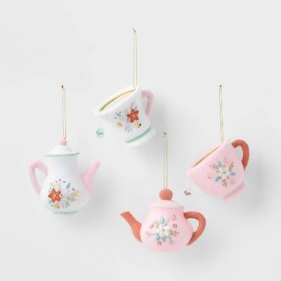 4pk Teapot/Teacup Christmas Tree Ornaments - Wondershop™