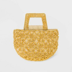Straw Beaded Tote Handbag - A New Day™ Natural