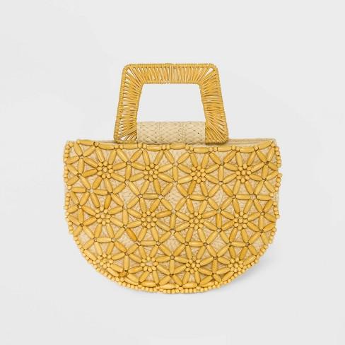 Straw Beaded Tote Handbag - A New Day™ Natural - image 1 of 3