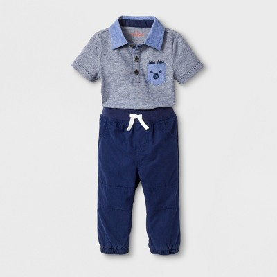 Baby Boys' 2pc Short Sleeve Polo Bodysuit and Poplin Pants Set - Cat & Jack™ Blue 3-6M