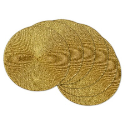 Set of 6 Gold Round Woven Placemat - Design Imports