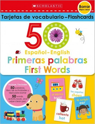 Flash Cards Set - 50 Spanish-english First Words - (Paperback)