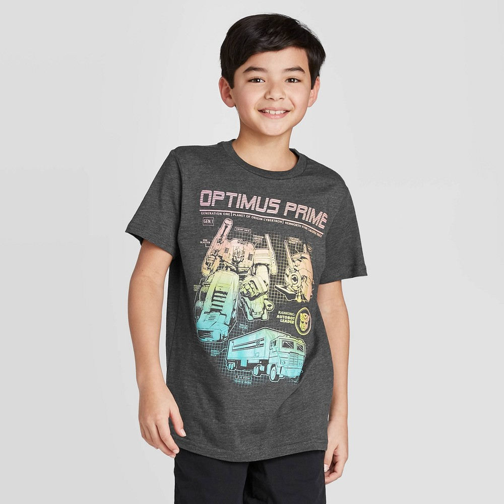 Image of Boys' Hasbro Transformers T-Shirt - Charcoal Heather, Boy's, Size: Large, Gray